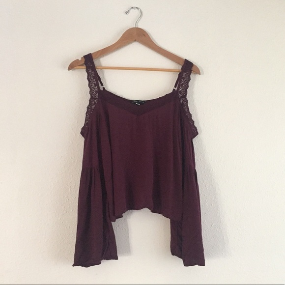 5477409809a96 Kendall   Kylie Tops - Kendall + Kylie Purple Cold Shoulder Bell Sleeve